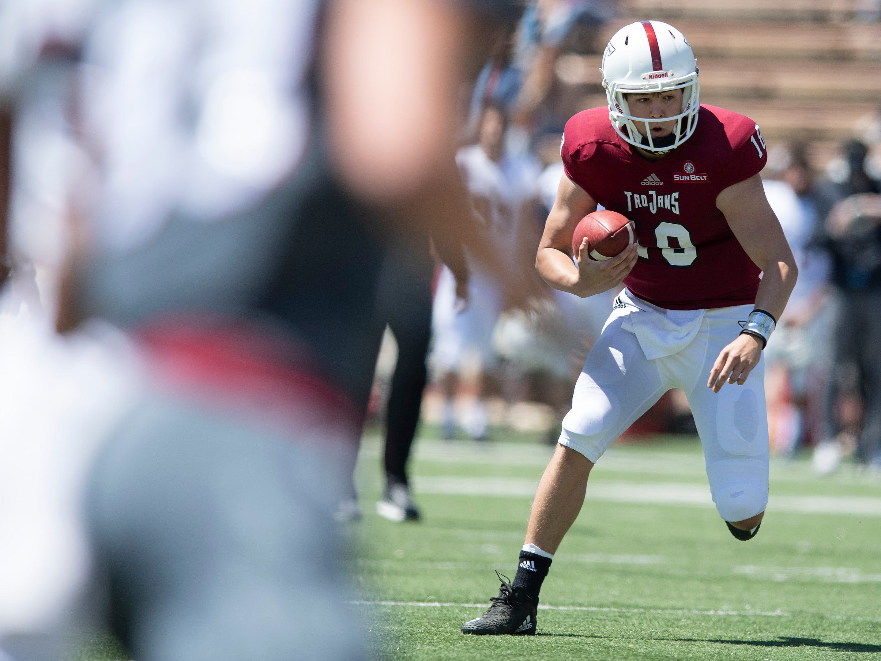 Troy quarterback Gunnar Watson (18) during the Troy University T-Day spring scrimmage game in Troy, Ala., on Saturday April 20, 2019.