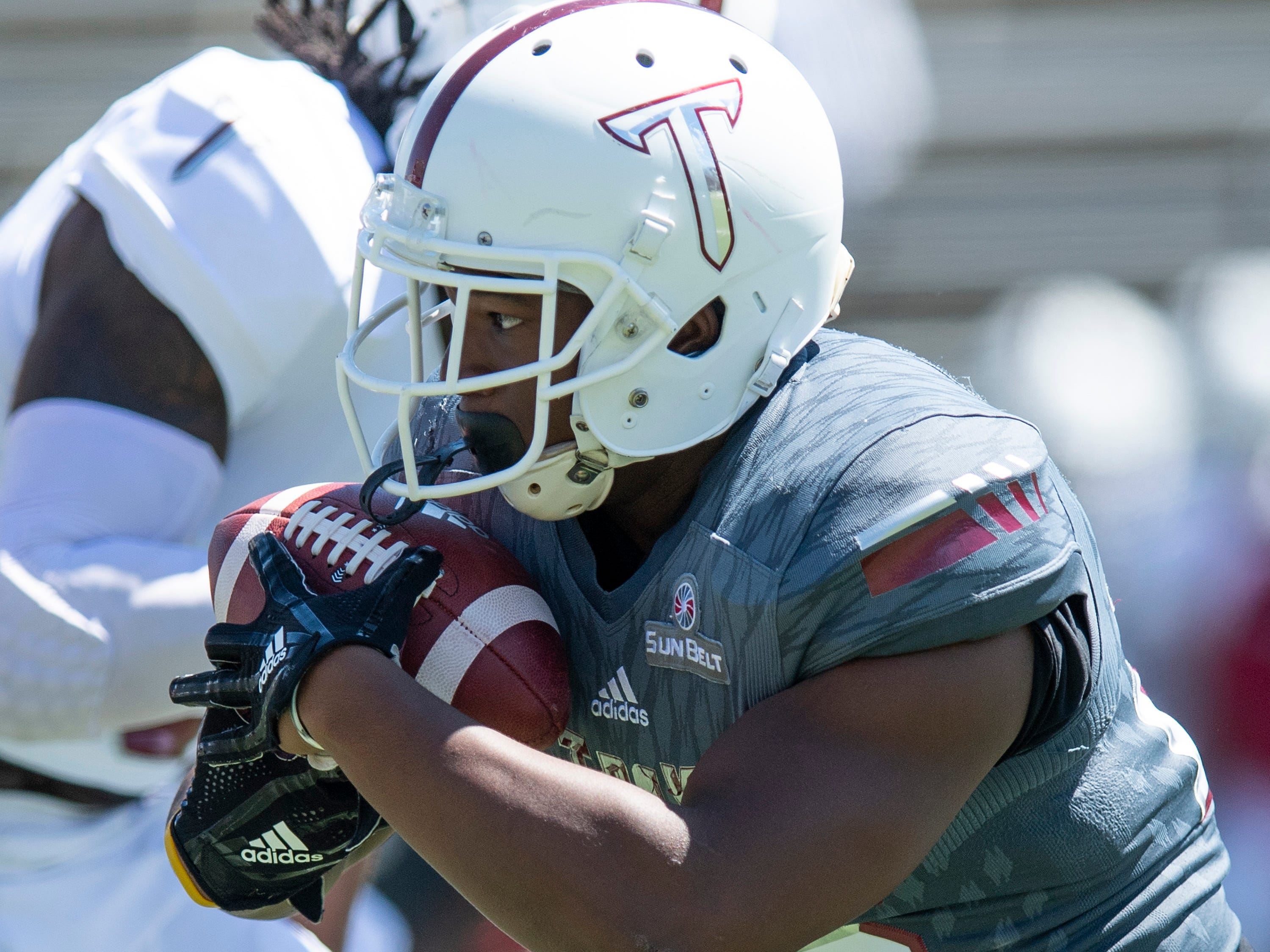 Troy running back Josh Mays (25) during the Troy University T-Day spring scrimmage game in Troy, Ala., on Saturday April 20, 2019.