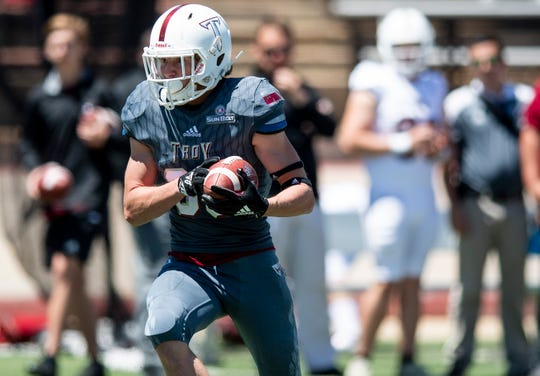 Troy wide receiver Luke Whittemore (83) during the Troy University T-Day spring scrimmage game in Troy, Ala., on Saturday April 20, 2019.