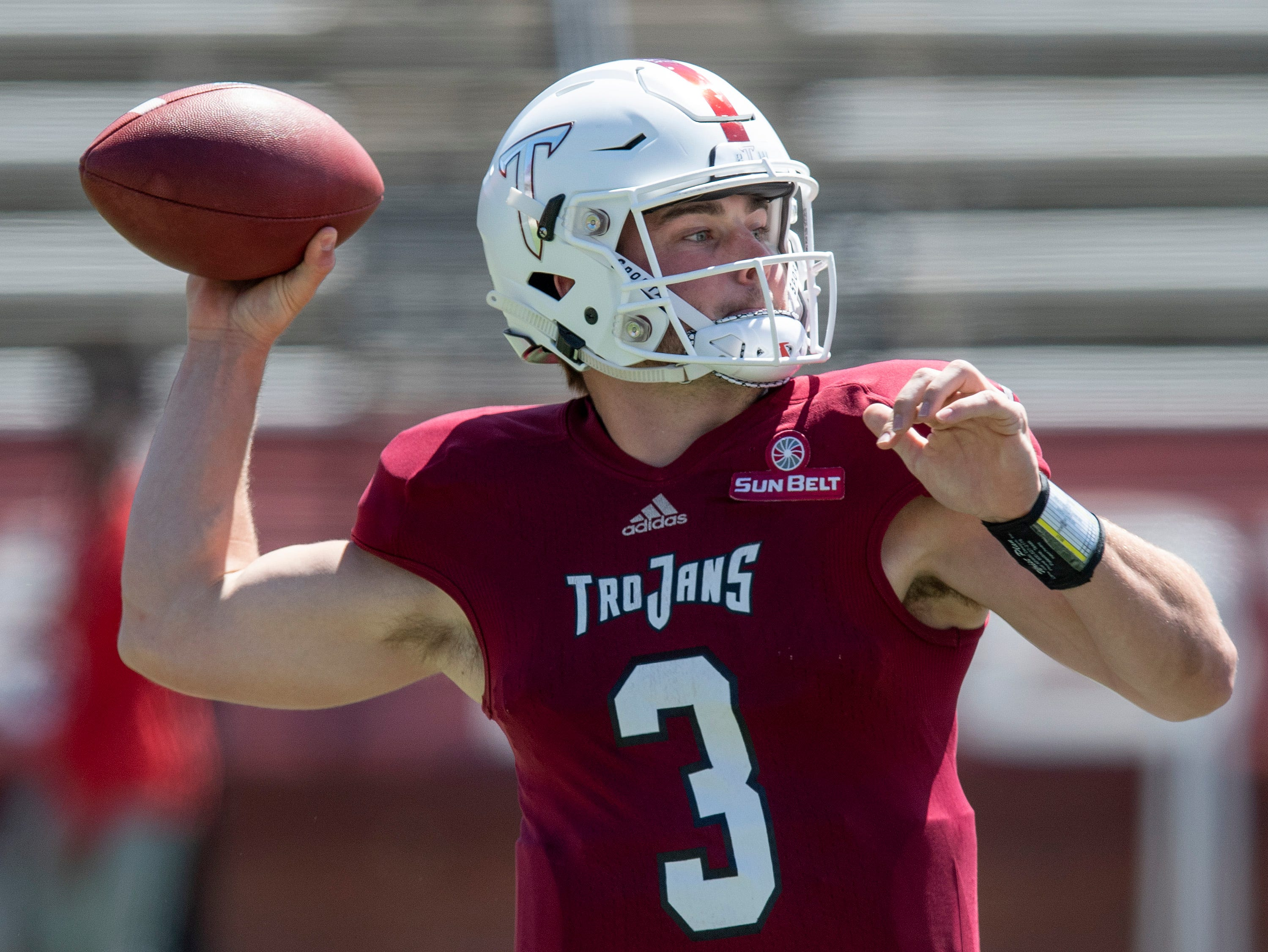 Troy quarterback Sawyer Smith (3) passes during the Troy University T-Day spring scrimmage game in Troy, Ala., on Saturday April 20, 2019.