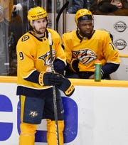 Nashville Predators left wing Filip Forsberg (9) and defenseman P.K. Subban (76) react late in the third period of their 5-3 loss to the Dallas Stars of the divisional semifinal game at Bridgestone Arena in Nashville, Tenn., Saturday, April 20, 2019.