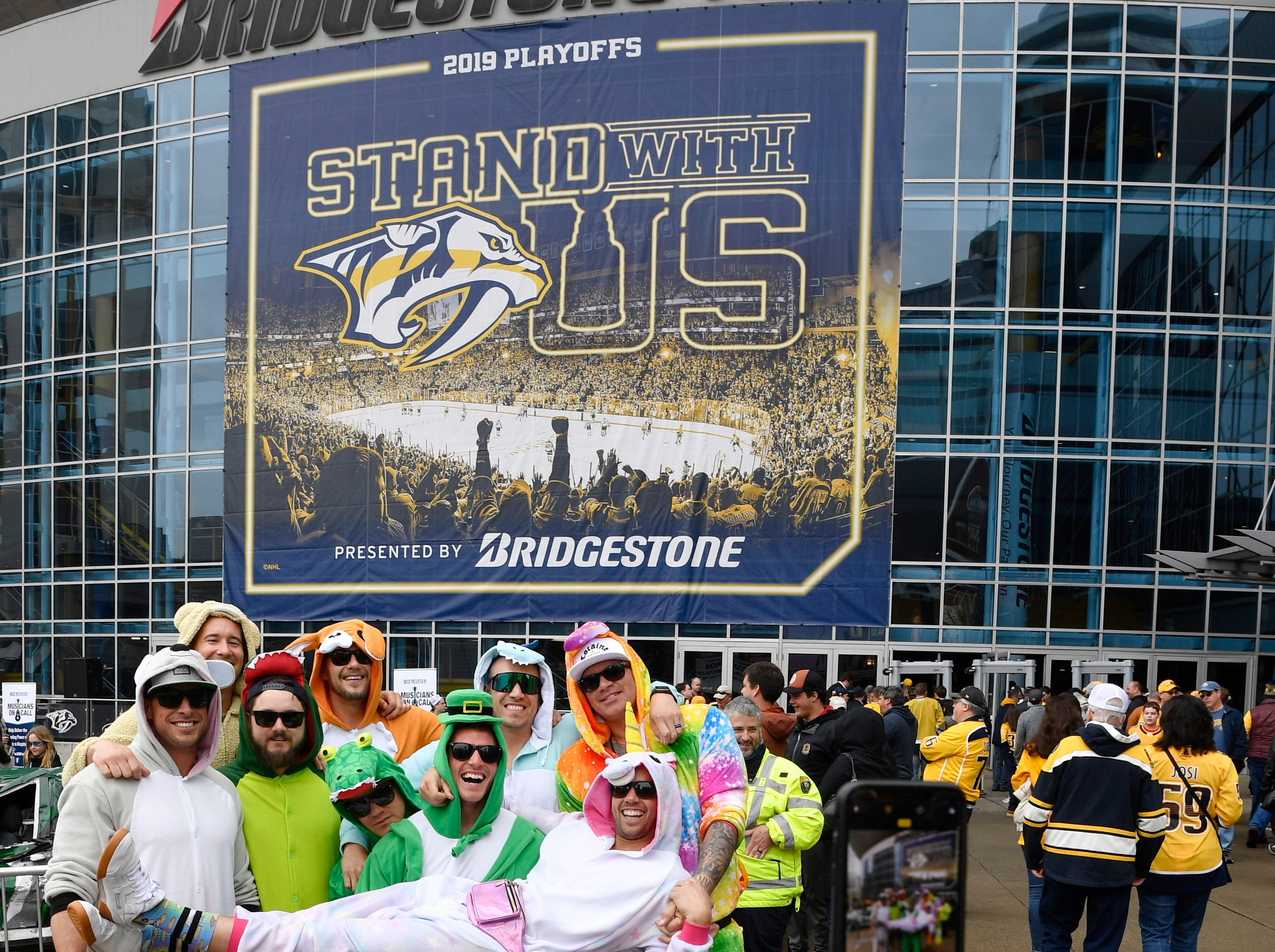 Fans dress in all kinds of costumes before the divisional semifinal game against the Stars at Bridgestone ArenaSaturday, April 20, 2019, in Nashville, Tenn.