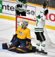 Dallas Stars right wing Alexander Radulov (47) celebrates his goal in front of Nashville Predators goaltender Pekka Rinne (35) during the second period of the divisional semifinal game at Bridgestone Arena in Nashville, Tenn., Saturday, April 20, 2019.