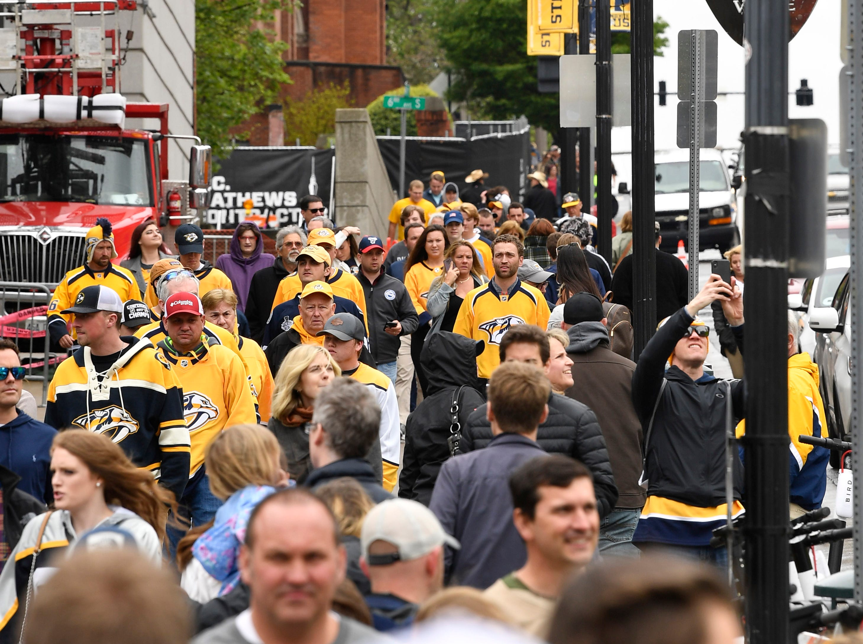 Fans pour in before the divisional semifinal game against the Stars at Bridgestone ArenaSaturday, April 20, 2019, in Nashville, Tenn.