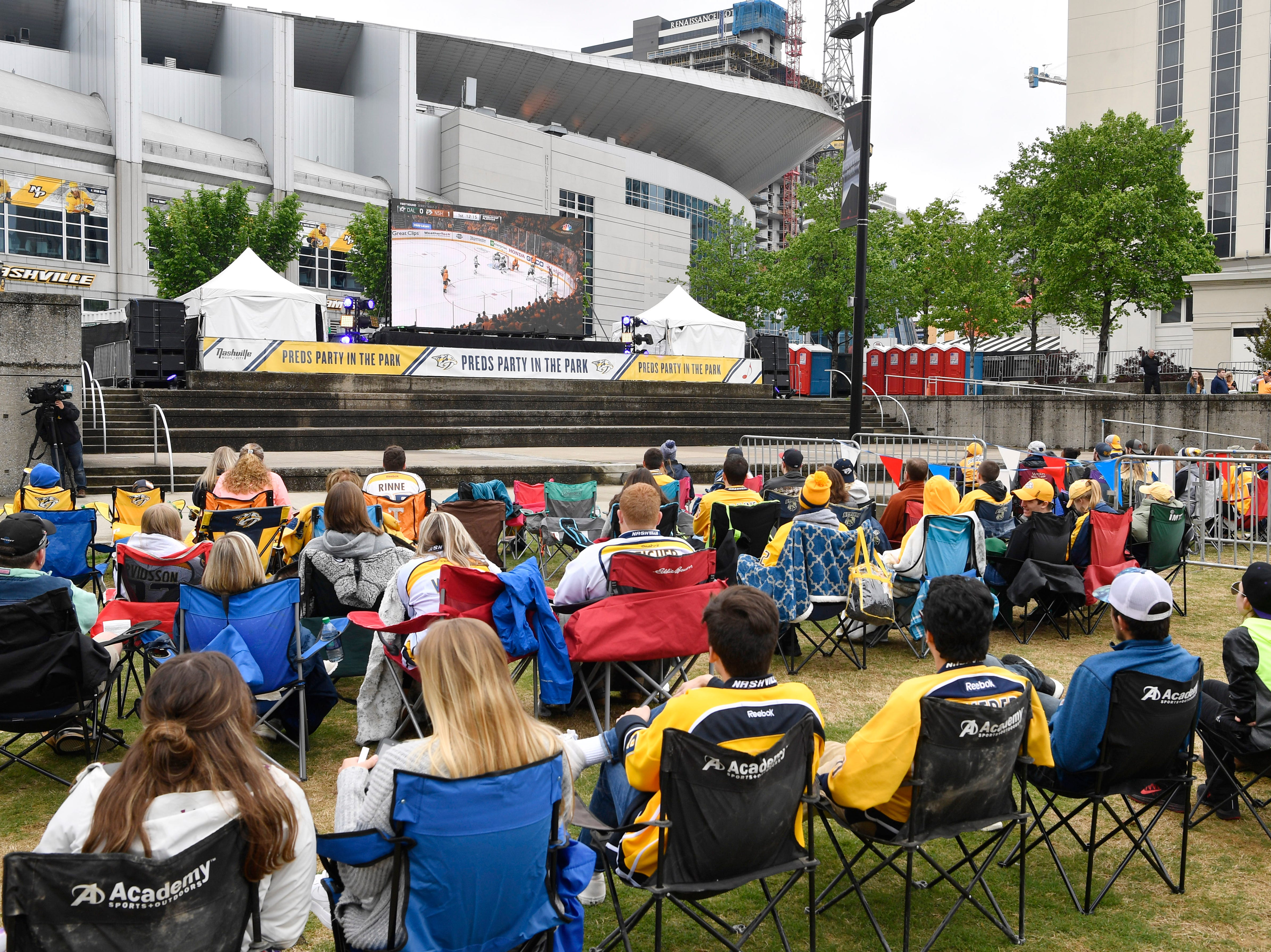 Fans line up their chairs to watch during the watch party of the divisional semifinal game against the Stars at Bridgestone ArenaSaturday, April 20, 2019, in Nashville, Tenn.