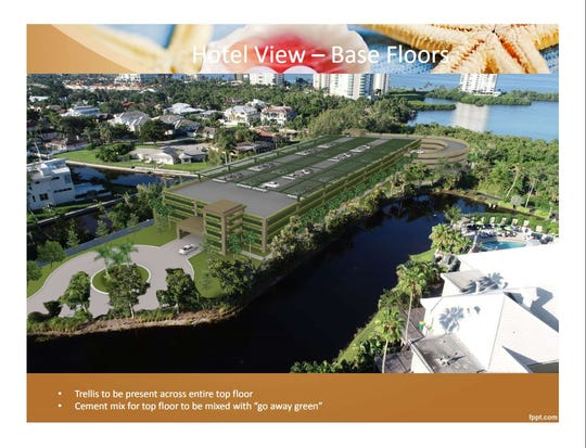 A slide from a Collier County presentation shows a rendering of the proposed parking garage at Clam Pass Park.