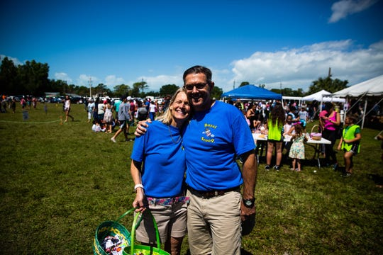 Sarah and David Zimmerman, owners of the Royal Scoop in Bonita Springs, together at the 25th annual Royal Scoop Easter Egg Hunt at New Life Church in Bonita Springs on Saturday, April 20, 2019.