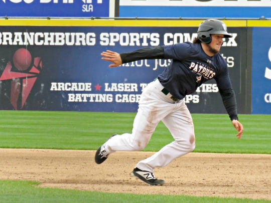 Kyle Wenger during Somerset Patriots camp.  The .448 career hitter at the college level has proven to be more than that, however, by impressing team officials with a lively bat off of much more experienced competition.