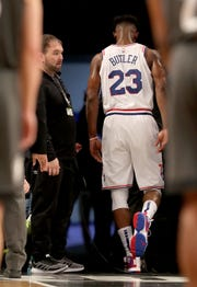 Jimmy Butler #23 of the Philadelphia 76ers is escorted off the court after he is tossed in the third quarter against the Brooklyn Nets at Barclays Center on April 20, 2019 in the Brooklyn borough of New York City.The Philadelphia 76ers defeated the Brooklyn Nets 112-108.