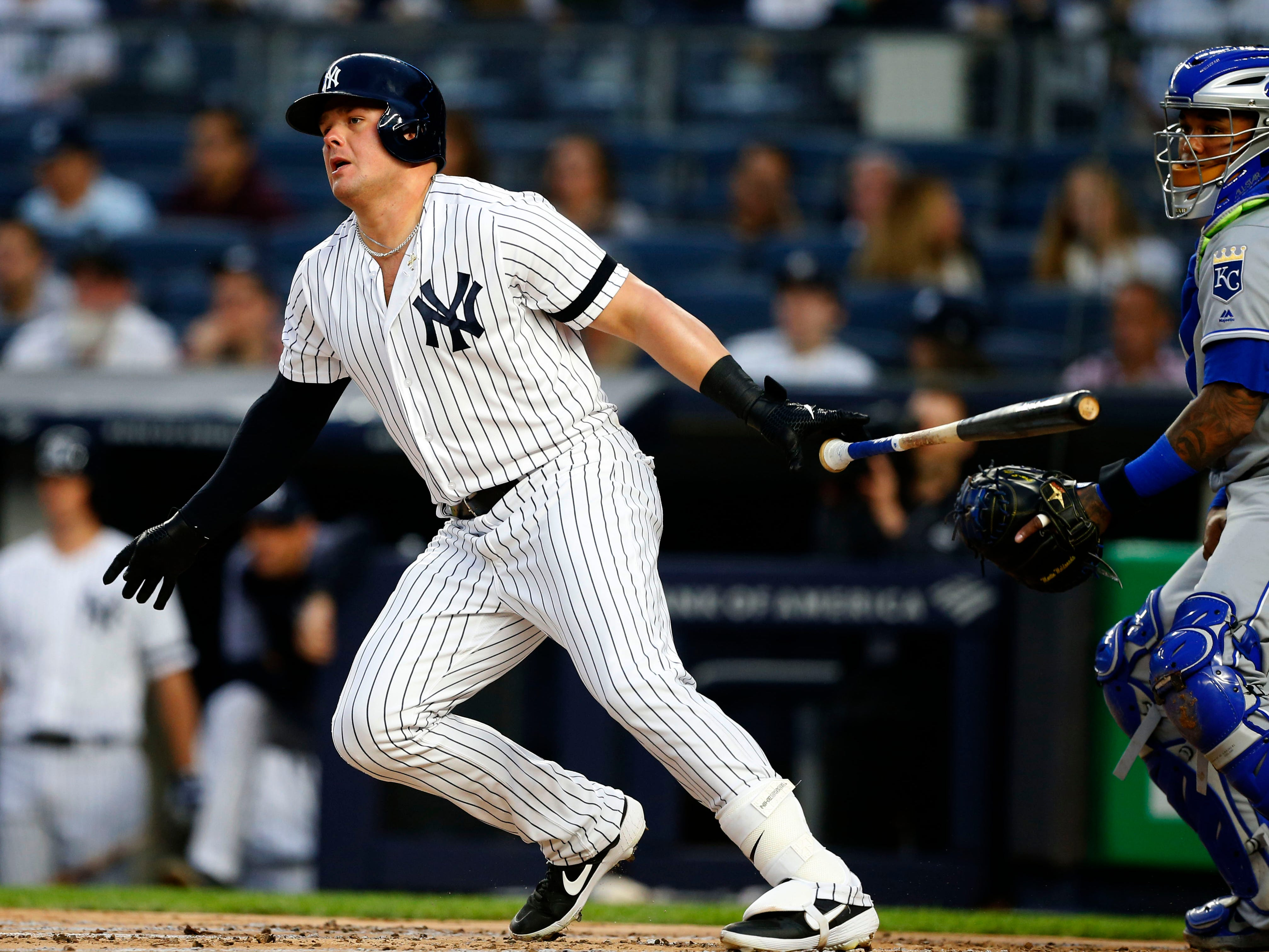 Apr 19, 2019; Bronx, NY, USA;  New York Yankees first baseman Luke Voit (45) tosses his bat after hitting a single in the first inning against the Kansas City Royals at Yankee Stadium.