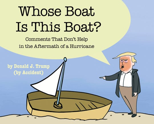 """This cover image released by Simon & Schuster shows """"Whose Boat Is This Boat?: Comments That Don't Help in the Aftermath of a Hurricane,"""" by The Staff of The Late Show with Stephen Colbert.  Colbert reportedly has donated proceeds from his Hurricane Florence-related book to disaster-relief efforts in North Carolina. The comedian sent a check for $412,412 to Gov. Roy Cooper."""