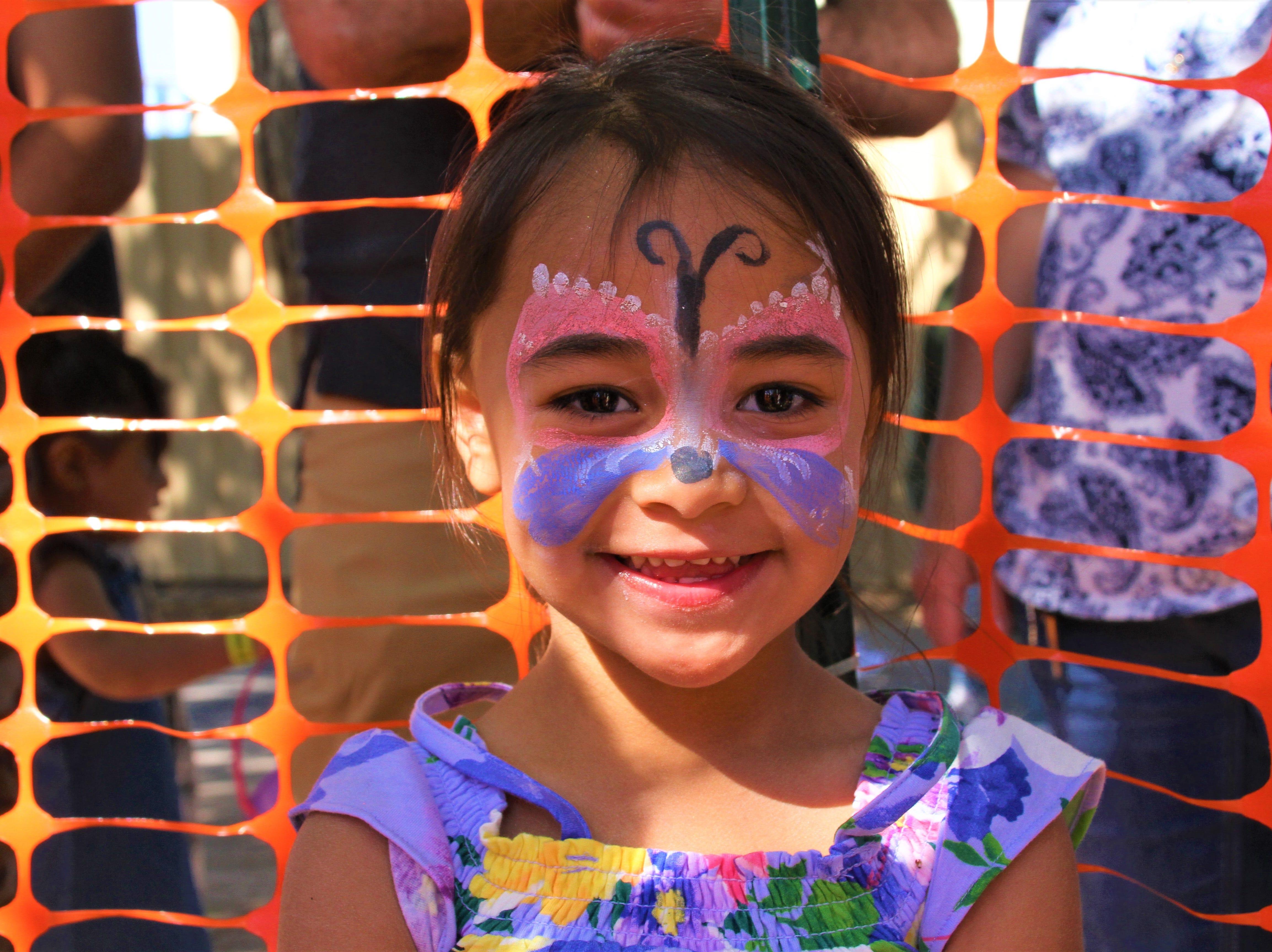 Zaeleigh Rubalcaba, 3, with butterfly face paint.