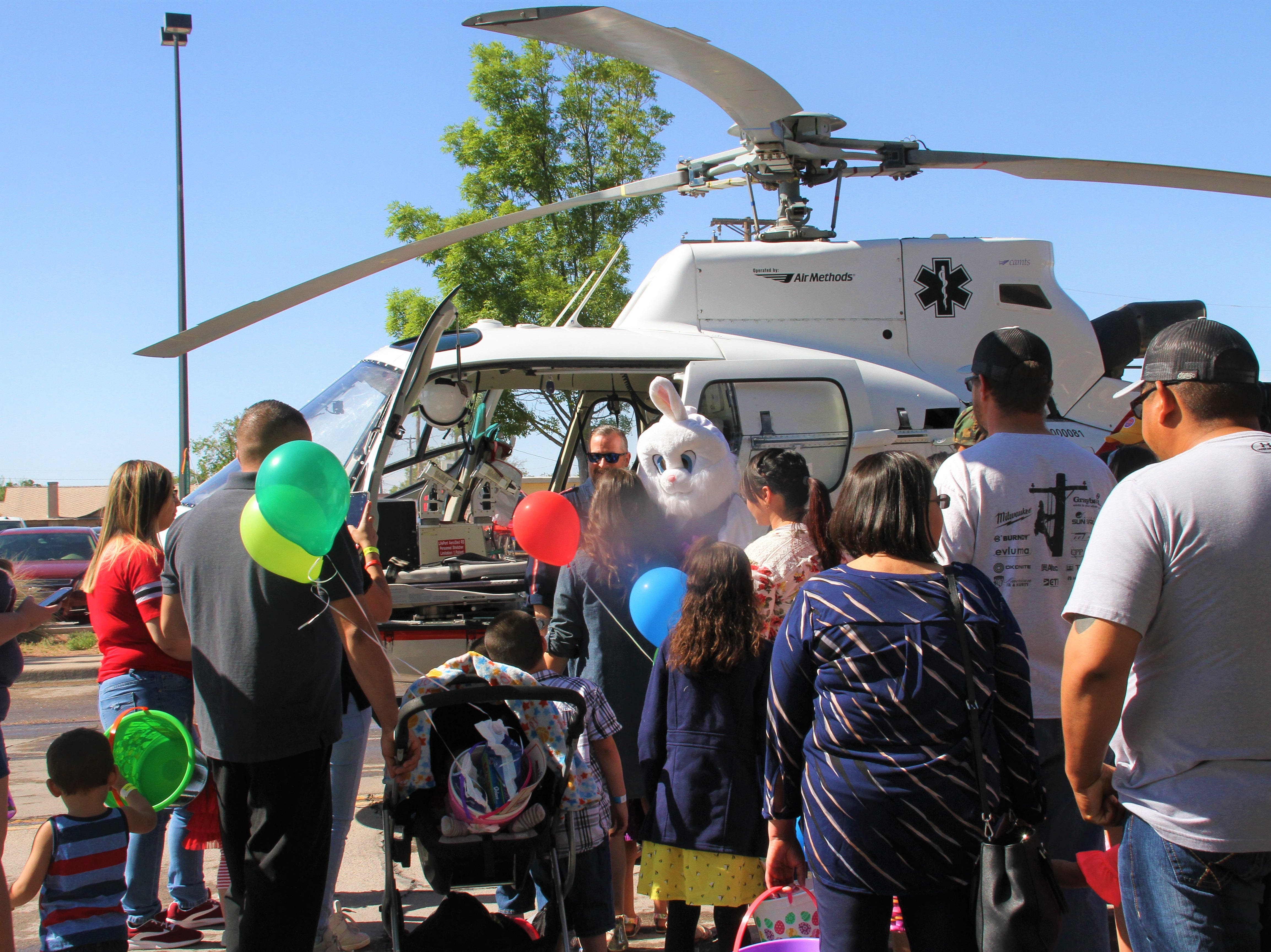 Easter bunny arrived by helicopter!