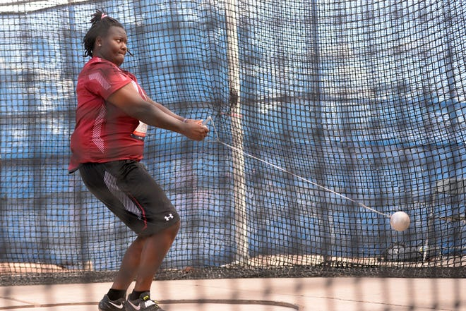 New Mexico State's Taniya Mitchell competes in the hammer throw at a 2018 meet in Arizona. In 2019, Mitchell set a program record in the hammer throw.