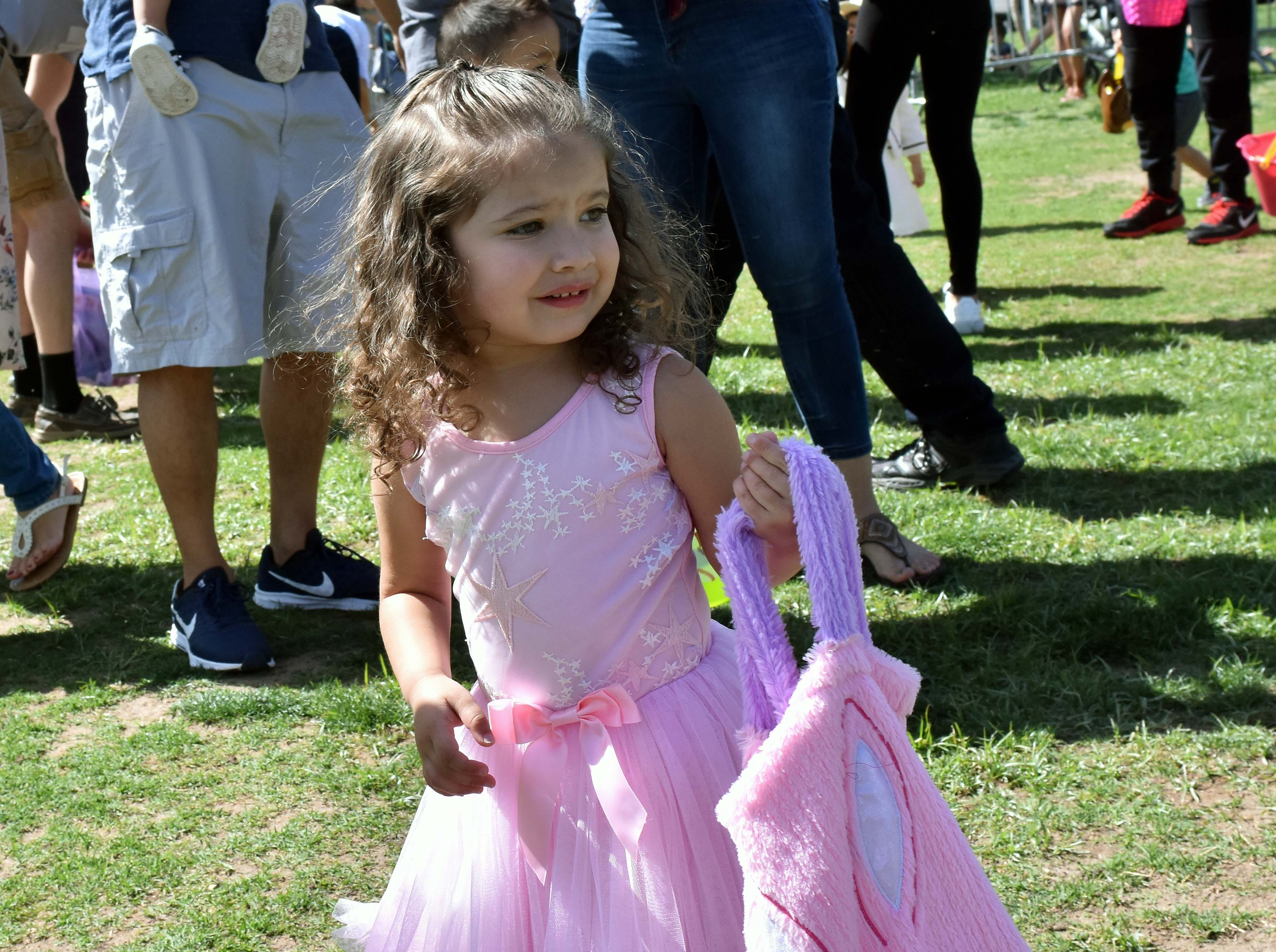 Natalia Lara, 2, looks for eggs scattered across the field during this year's SpringFest at Young Park on Saturday, April 20, 2019.