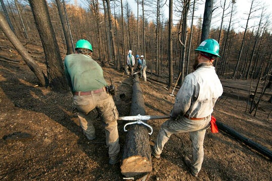 This undated photo provided by the Philmont Scout Ranch shows members of the Philmont Recovery Corps moving a log into place for a new contour along a charred slope. The historic ranch near Cimarron, New Mexico, is rebuilding following a devastating wildfire that burned nearly 44 square miles in 2018. Backcountry trails were wiped out along with trail camps.