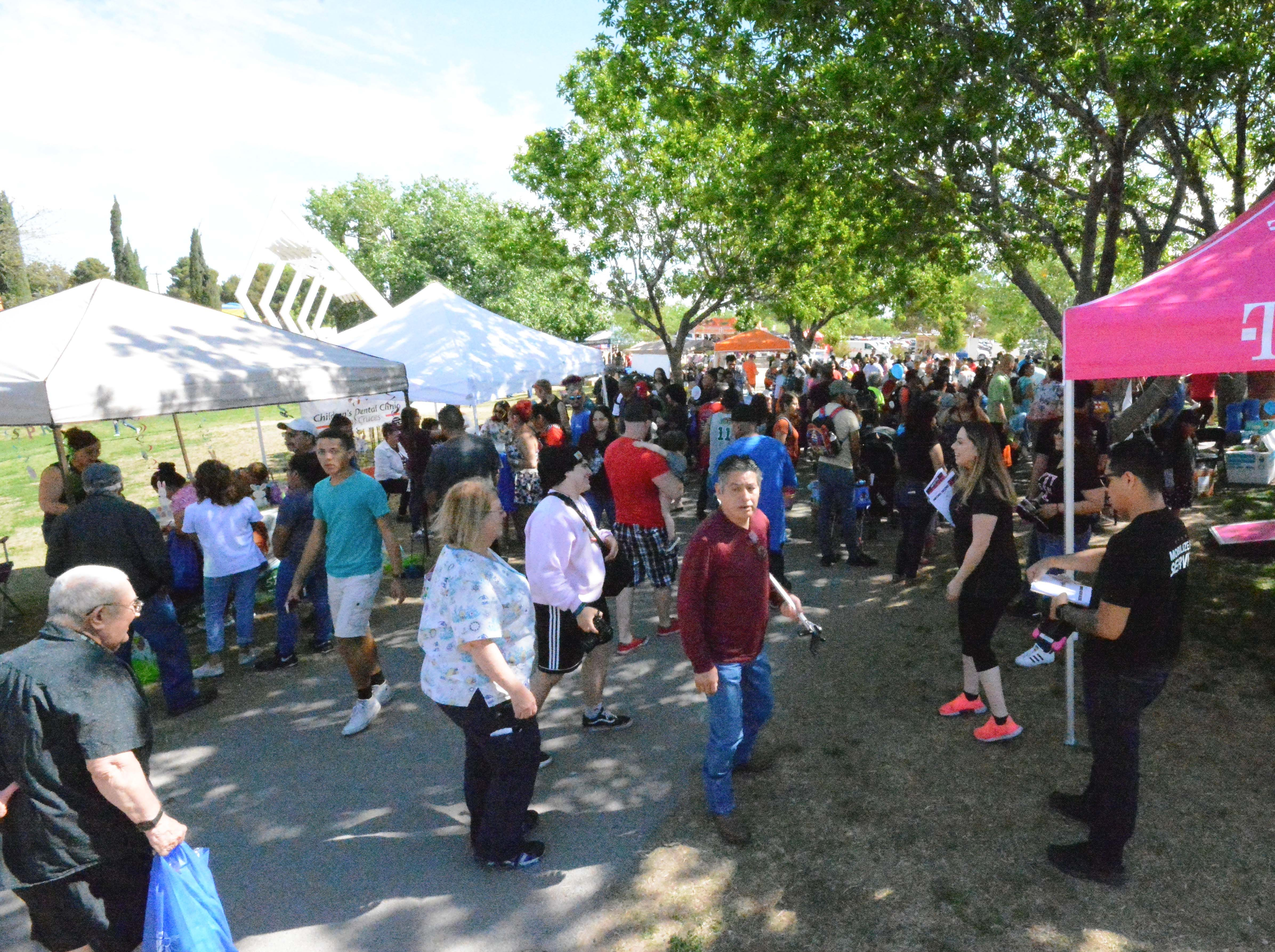 A large gathers around noon Saturday, April 20, 2019 at this year's SpringFest at Young Park.