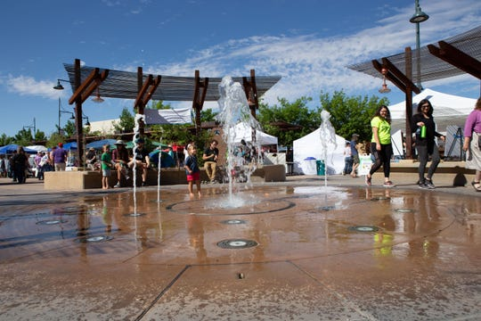 The water fountain entertained both young and old during the Earth Day and March for Science events on the Downtown Plaza on Saturday, April 20, 2019.