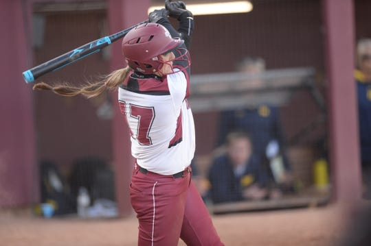 New Mexico State's Kelsey Horton hit her 65th home run of her career in a 4-2 victory over Grand Canyon on Friday, April 19, 2019. The bomb gives Horton the NMSU softball record for homers in a career.