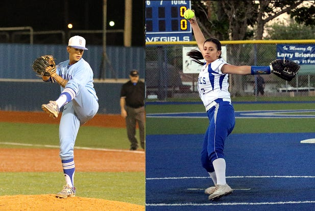 Left: TJ Ruiz pitches against Clovis. Right: Ashley Hernandez pitches against Roswell on April 18, 2019. Ruiz threw a 13-strikeout no-hitter and Hernandez threw a six-strikeout perfect game for Carlsbad within 90 minutes of each other.
