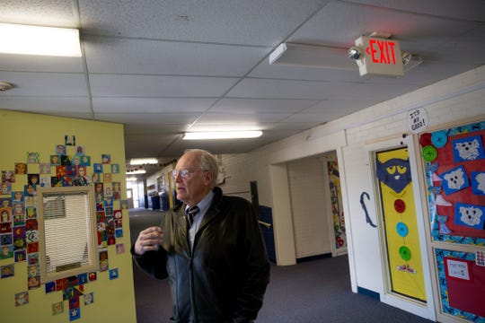 Ted Lasiewicz, the director of operations for the Farmington Municipal School District, talks about repairs and upgrades needed at Country Club Elementary School during a tour of the campus on Jan. 12, 2018, in Farmington.