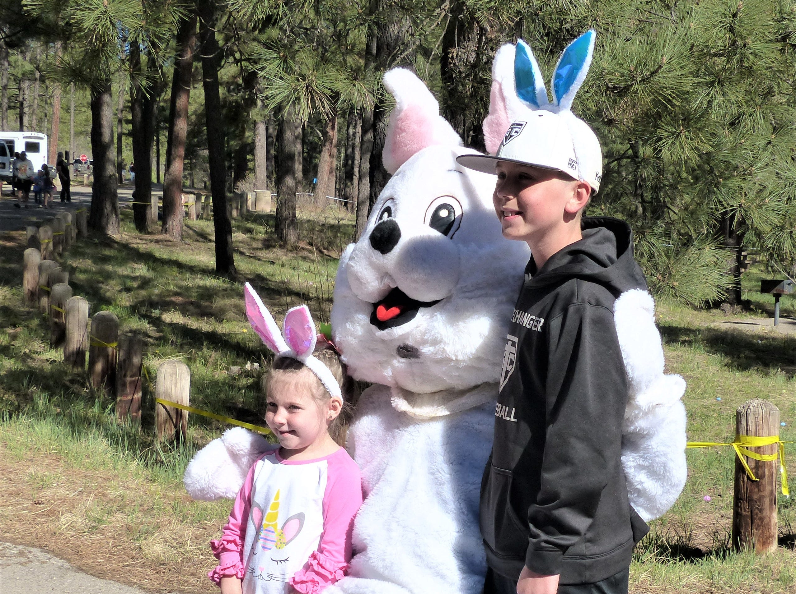 The Easter bunny brought smiles to the faces of most children, but a few shed tears despite his happy face.