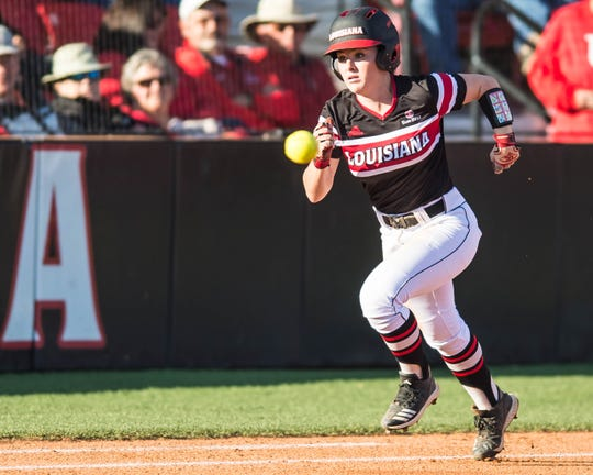 UL's Keeli Milligan tries to beat the throw out to first base as the Ragin' Cajuns play the Georgia State Panthers in the second of a three-game series at Lamson Park on Friday, April 19, 2019.