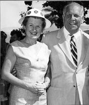 Governor Goodwin Knight with Palm Springs scion and founder of the Palm Springs Historical Society Melba Bennett in 1954.