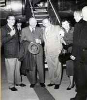 Welcome to Palm Springs in February 1954. Left to right, Mayor Florian Boyd, President Eisenhower, Governor Goodwin Knight and first lady Mamie Eisenhower.