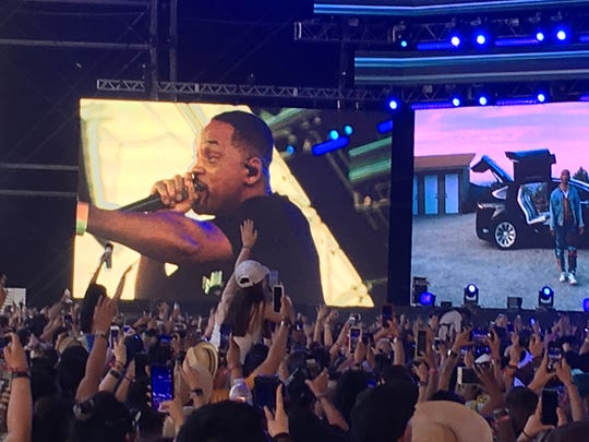 Will Smith comes out during Jaden Smith's performance at Coachella during Weekend 2.