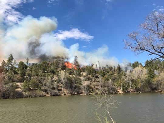 A wildfire was burning in the Prescott National Forest Friday.
