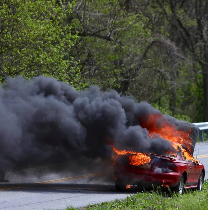Vehicle fire leaves car wrecked in Hellam Township