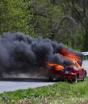 A car caught fire on Ducktown Road in Hellam Township on Saturday, April 20 (Photo courtesy of the Hellam Township Police Department).