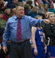 Reno coach Shane Foster on the sidelines in the Regional Championship Basketball game against Manogue on  February 18, 2017.