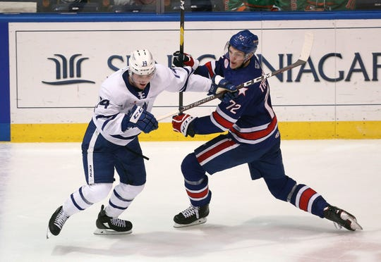 Forward Tage Thompson, who is 6-foot-7, scored 8 goals in 11 games for the Amerks and has rejoined the team to start the 2019-20 season.