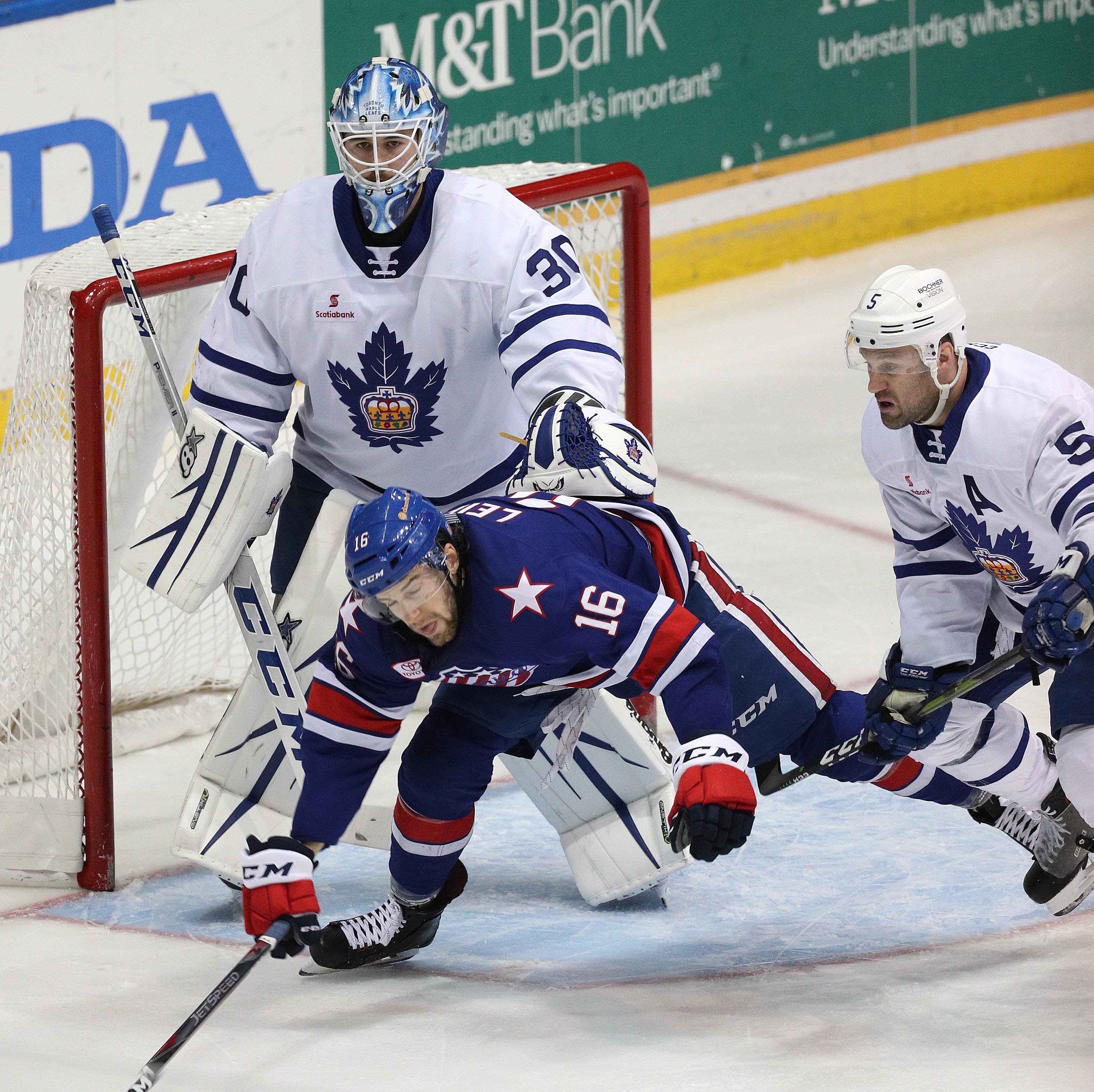 Amerks continue playoff drought against Toronto with ringing pipes, leaky defense in Game 1