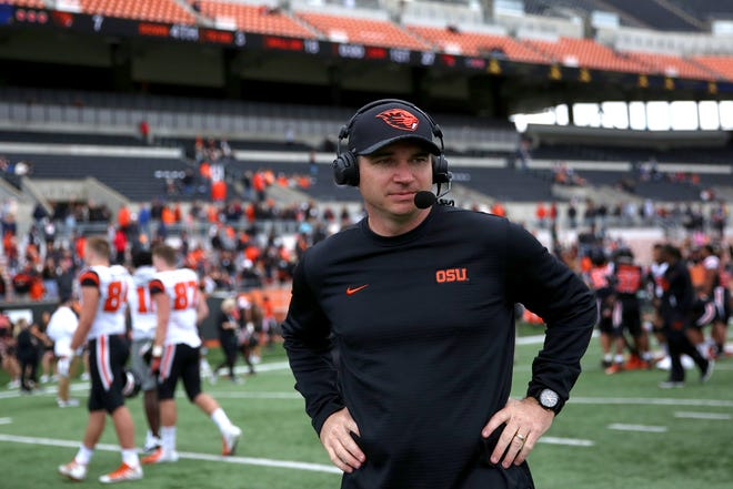 Head coach Jonathan Smith during Oregon State University's spring football game at Reser Stadium in Corvallis on April 20, 2019.