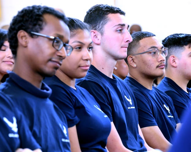 Monterey County kids headed for the Air Force took the oath of enlistment in front of friends and family Saturday. April 20, 2019.