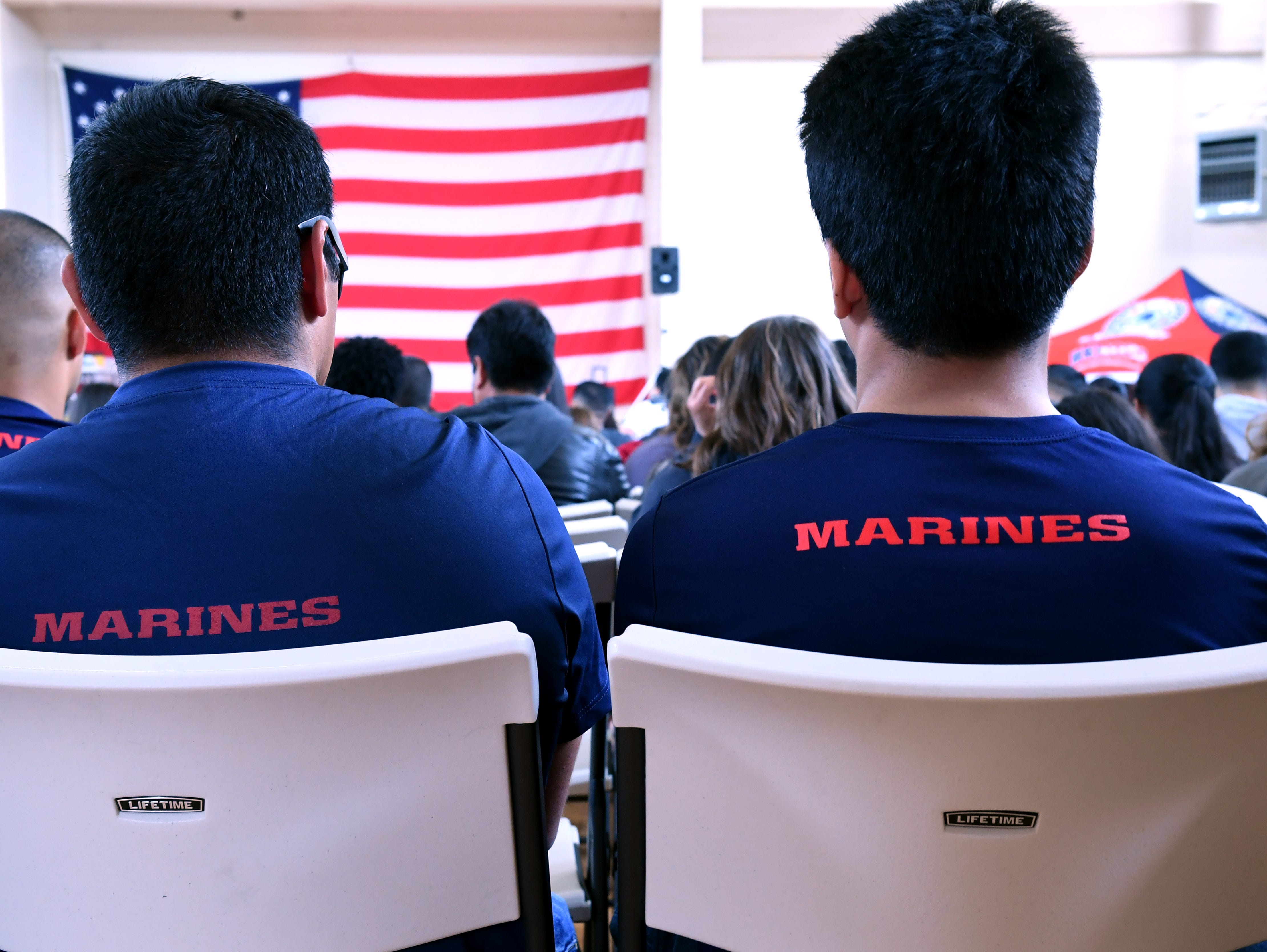Monterey County teens bound for the Marine Corps listen to speeches at Saturday's event celebrating servicemembers. April 20, 2019.