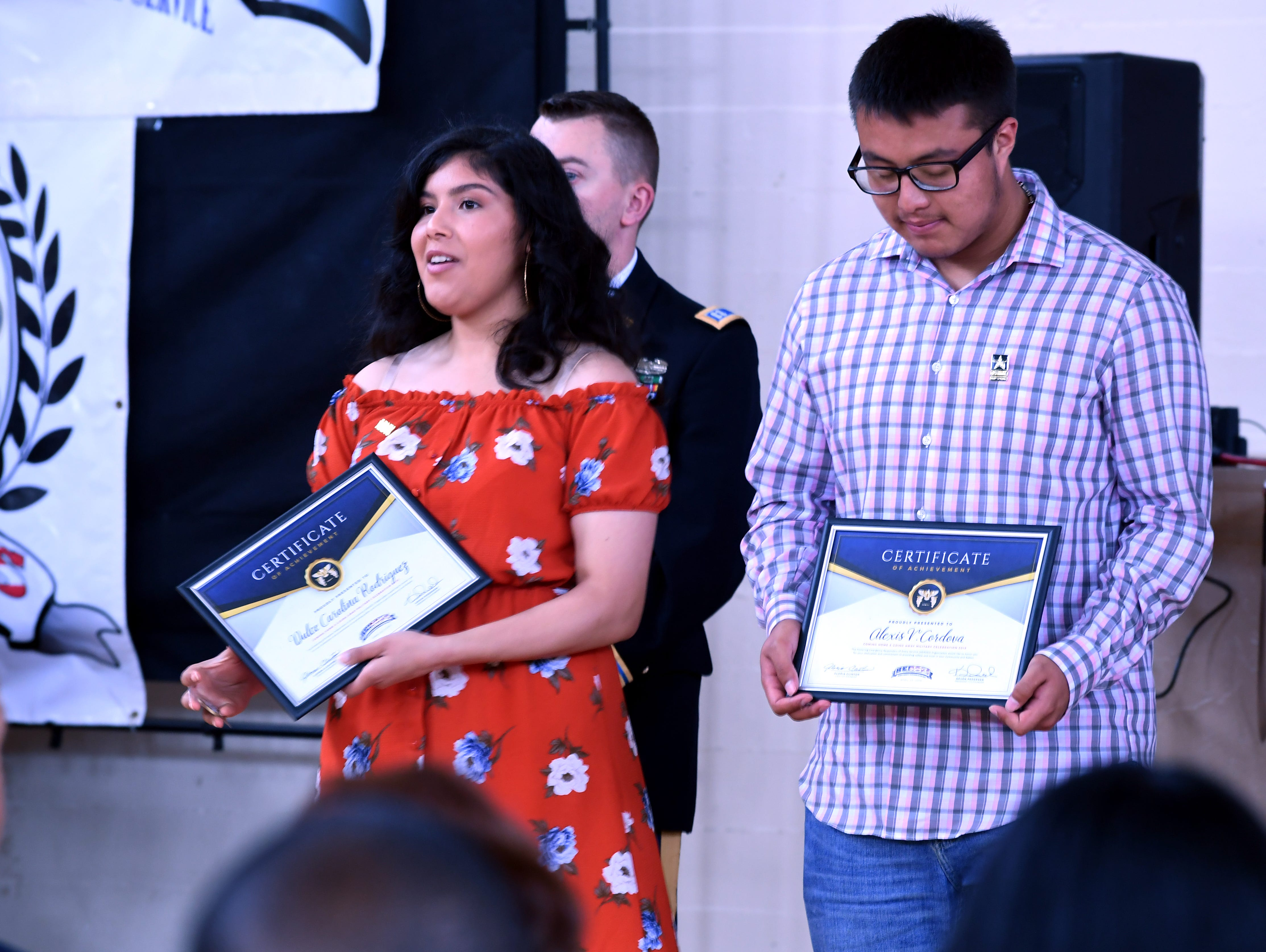 Two teens preparing to enlist received certificates of completion Saturday during the Heroes of Monterey County event. April 20, 2019.