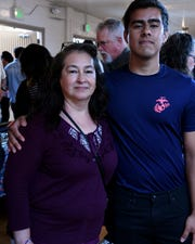Maria Dominguez embraced her son, Abraham Perez, who is headed for the Marine Corps this July. April 20, 2019.