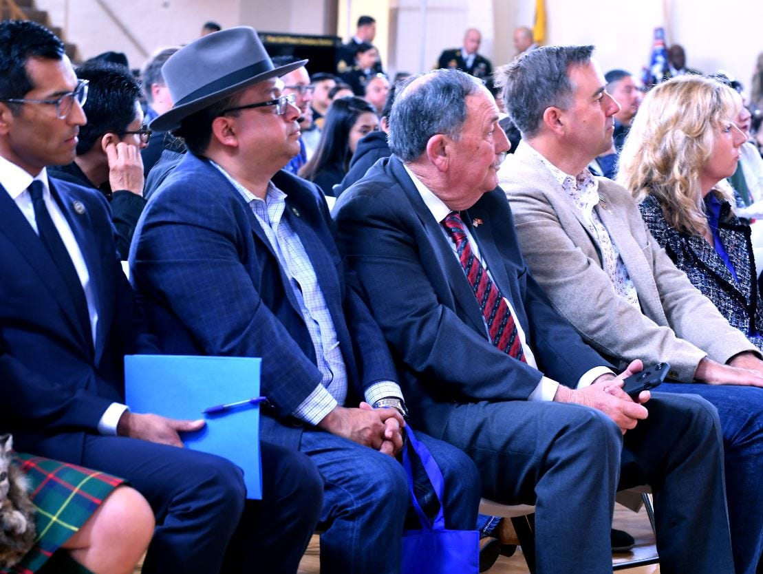 Assembleymember Robert Rivas, Board of Supervisors member Luis Alejo, Salinas Mayor Joe Gunter and Salinas City Councilman Steve McShane attended Saturday to witness Salinas and Monterey County teens taking the oath of enlistment. April 20, 2019.