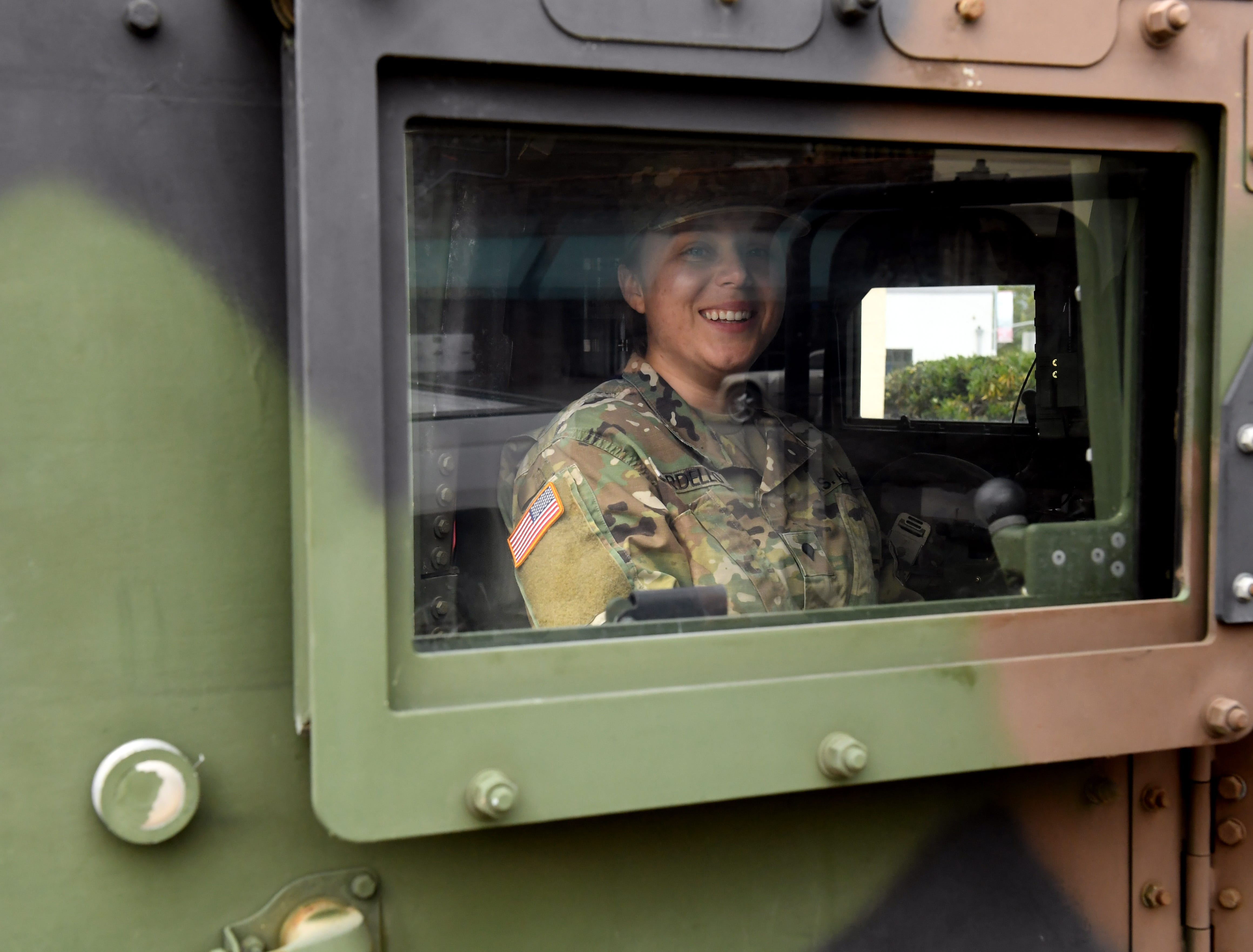 Specialist Alexa Cardello sat in the Humvee outside the event, ready to talk to future servicemembers. April 20, 2019.
