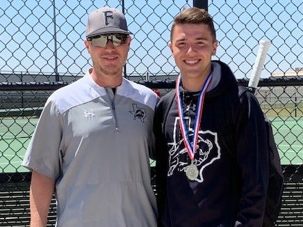 Forsan High School boys singles player Kobe Richardson and coach Seth Johnson will be heading to the state tennis tournament in College Station in May.