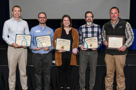 From left: Ty Walden, Paul Hamilton, Brittany Wollman, Jon Wilcox and Curt Braden received honors from Angelo State University.