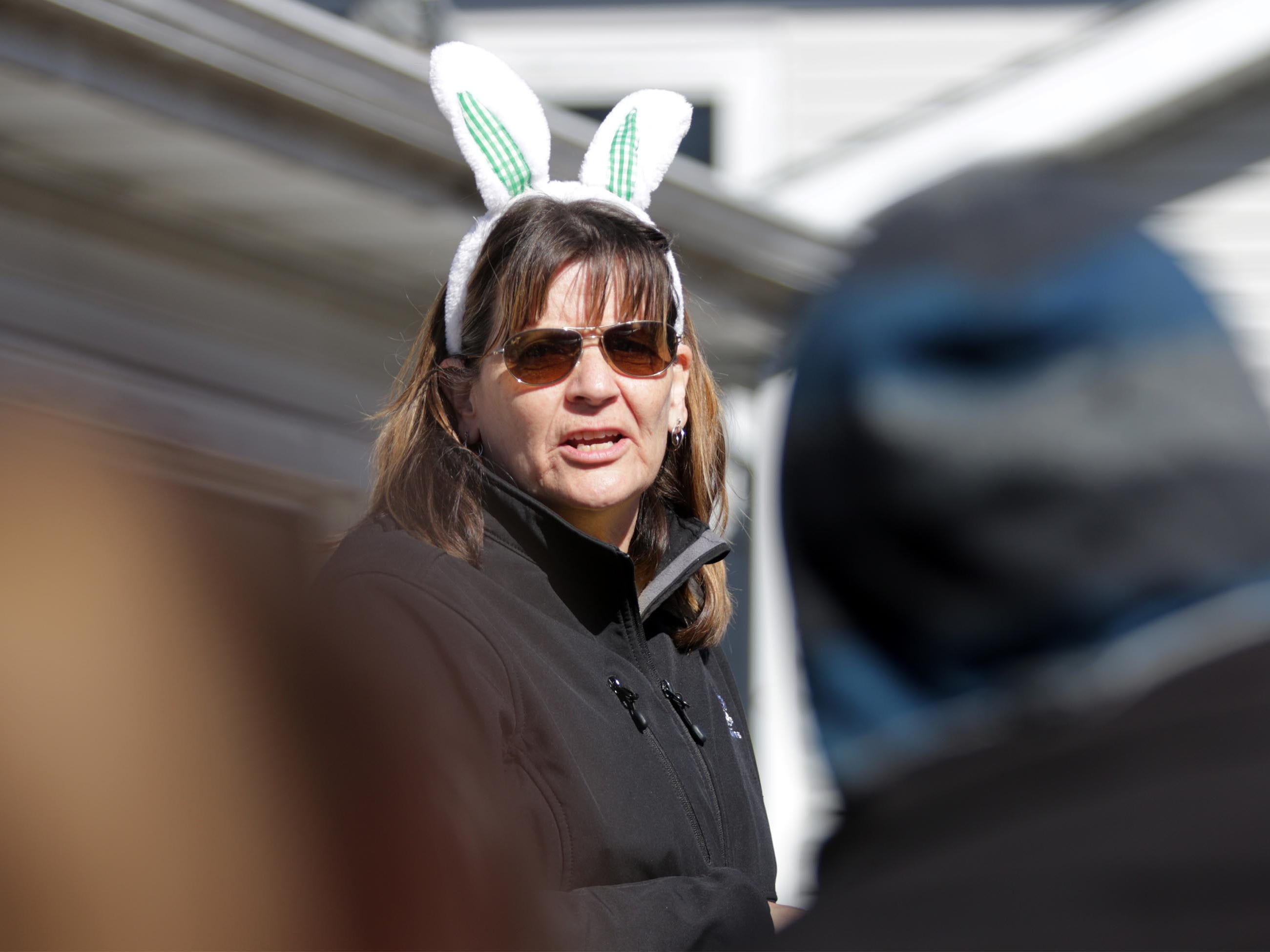 Kathy Hocevar describes the rules beore the start of the annual Hocevar Easter Egg Hunt, Saturday, April 20, 2019, in Sheboygan Falls, Wis.  This years marks 25 years for the Hocevar Family holding an Easter egg hunt at their home, according to Hocevar.
