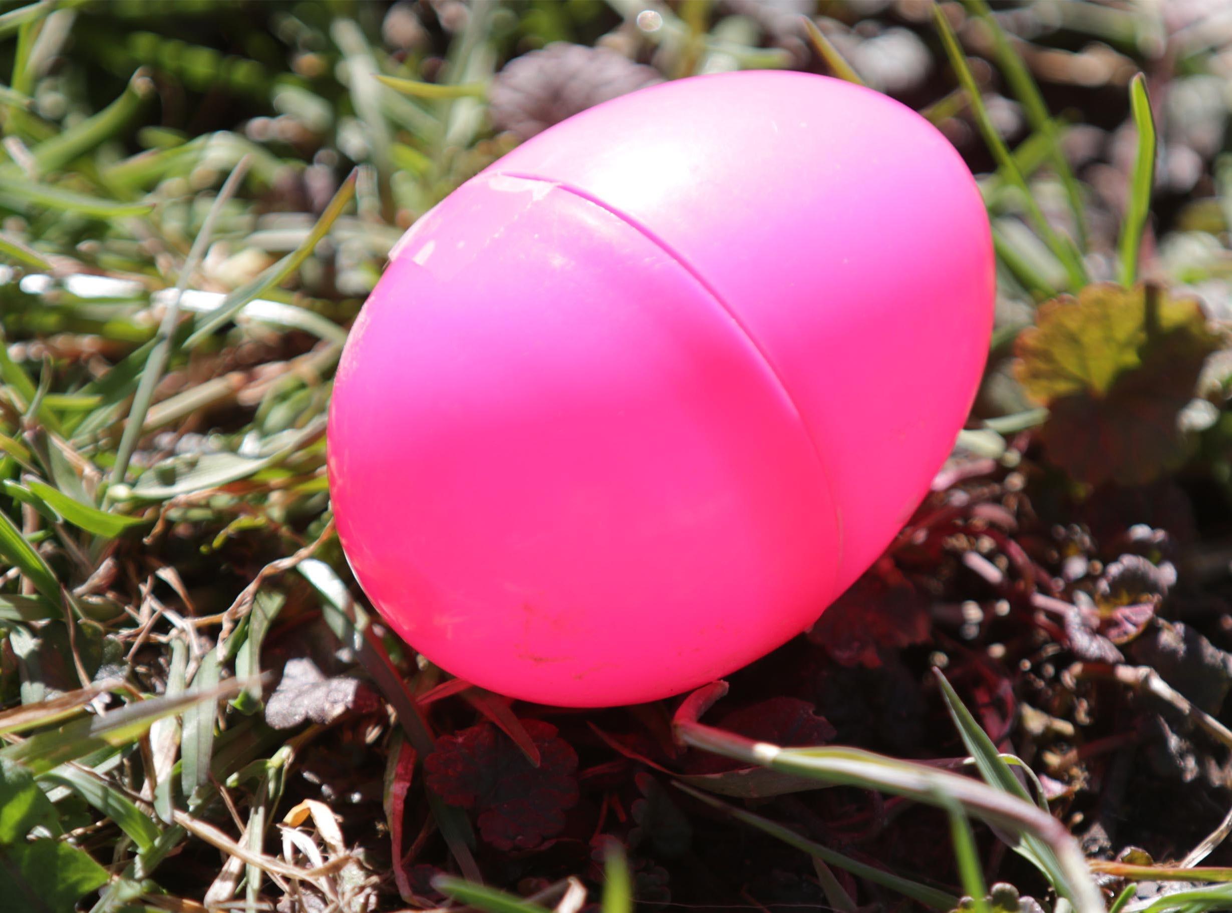 An easter egg before the Hocevar Easter Egg Hunt, Saturday, April 20, 2019, in Sheboygan Falls, Wis.  This years marks 25 years for the Hocevar Family holding an Easter egg hunt at their home, according to Kathy Hocevar.