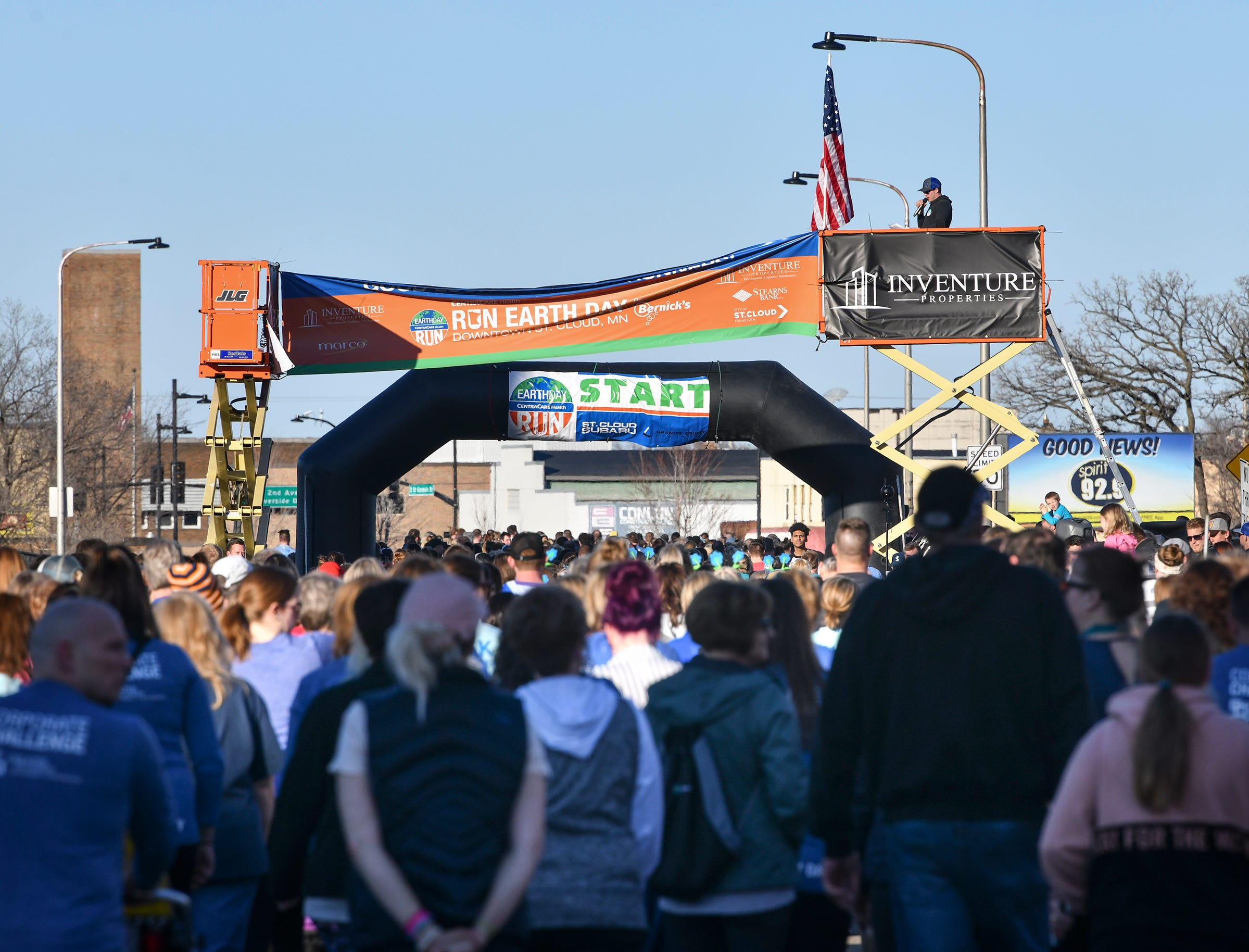 Runners gather for their turn at the start of the St. Cloud Subaru 5K run/walk Friday in downtown St. Cloud.