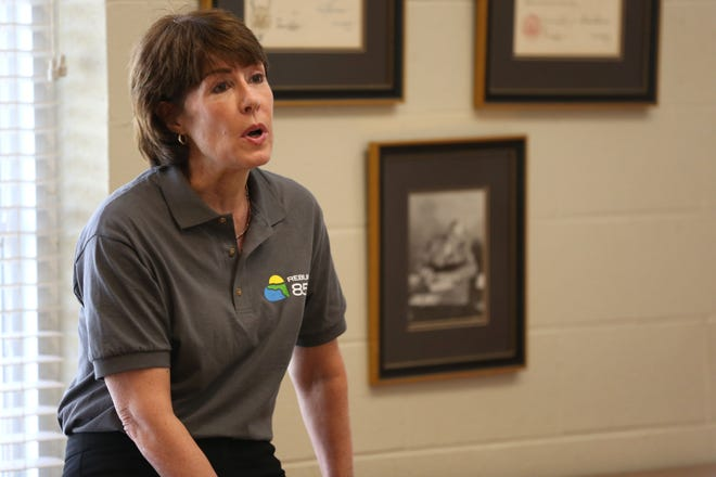 Gwen Graham, cochair for Rebuild 850, talks to Florida Chamber Foundation members and statewide organization leaders about the impact Hurricane Michael had on the Panhandle communities and what she sees are the biggest needs for them to recover Wednesday, April 17, 2019.