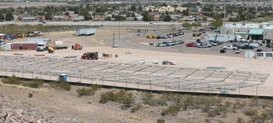 The framework for what could be a new temporary migrant processing center at the Border Patrol station on Hondo Pass Drive in Northeast El Paso is shown Saturday, April 20, 2019. U.S. Customs and Border Protection officials have not confirmed the location for the new processing center.